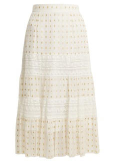 Temperley London Wondering lace-insert fil coupé chiffon midi skirt