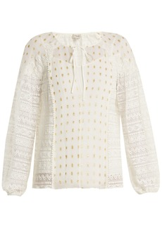 Temperley London Wondering lace-panel fil coupé chiffon top
