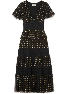 Temperley Wondering lace-paneled fil coupé georgette midi dress