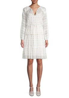 Temperley Wondering Lace-Accented A-Line Dress
