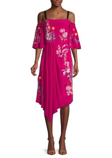 Temperley Woodland Silk Cold-Shoulder Midi Dress