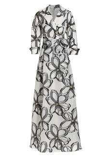 Teri Jon Abstract-Print Embellished Organza Tie-Waist Gown