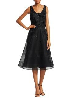 Teri Jon Appliqué A-Line Dress