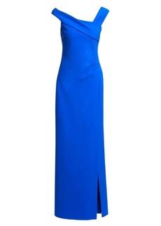 Teri Jon Asymmetric Off-The-Shoulder Gown