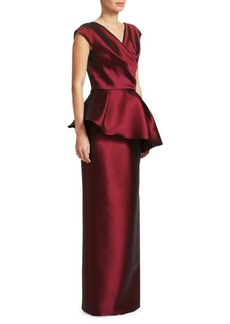 Teri Jon Asymmetrical Peplum Satin Gown