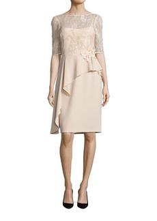 Teri Jon Asymmetrical Peplum Sheath Dress