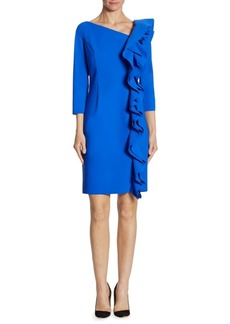 Teri Jon Asymmetrical Ruffled Sheath Dress