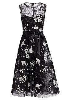 Teri Jon Avian & Floral Beaded Tie-Waist Tulle A-Line Dress