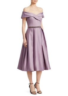 Teri Jon Bea Off-The-Shoulder A-Line Satin Dress