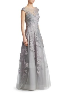 Teri Jon Bead Lace Appliqué Gown