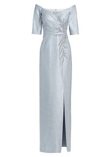 Teri Jon Beaded Off-The-Shoulder Gown