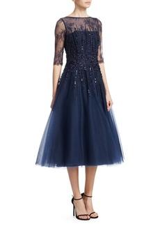 Teri Jon Beaded Tulle Fit-&-Flare Dress