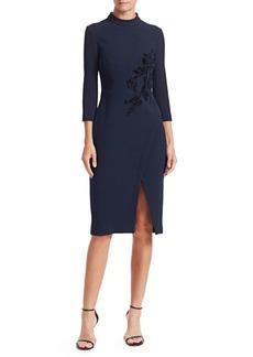 Teri Jon Beaded Velvet Applique Wool Crepe Dress