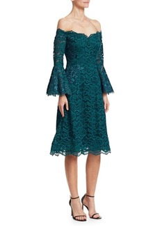 Teri Jon Bell Sleeve Off-The-Shoulder Lace Dress