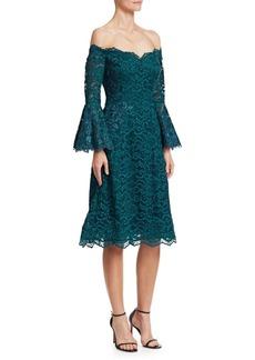 Teri Jon Bell-Sleeve Off-The-Shoulder Lace Dress