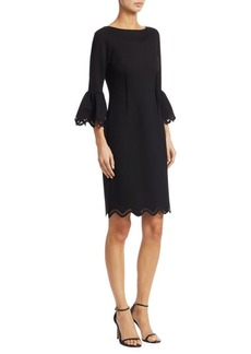 Teri Jon Bell Sleeve Scalloped Sheath Dress