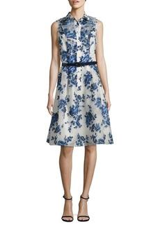 Teri Jon Belted Floral-Print Shirtdress