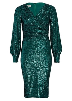 Teri Jon Blouson Sleeve Sequin Sheath Dress