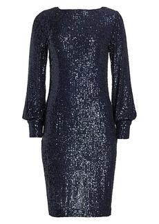 Teri Jon Blouson Sleeve Sequin Shift Dress