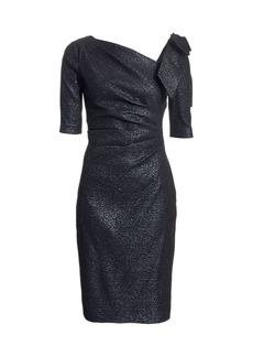 Teri Jon Bow Metallic Cocktail Dress