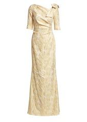 Teri Jon Bow Shoulder Metallic Jacquard Gown