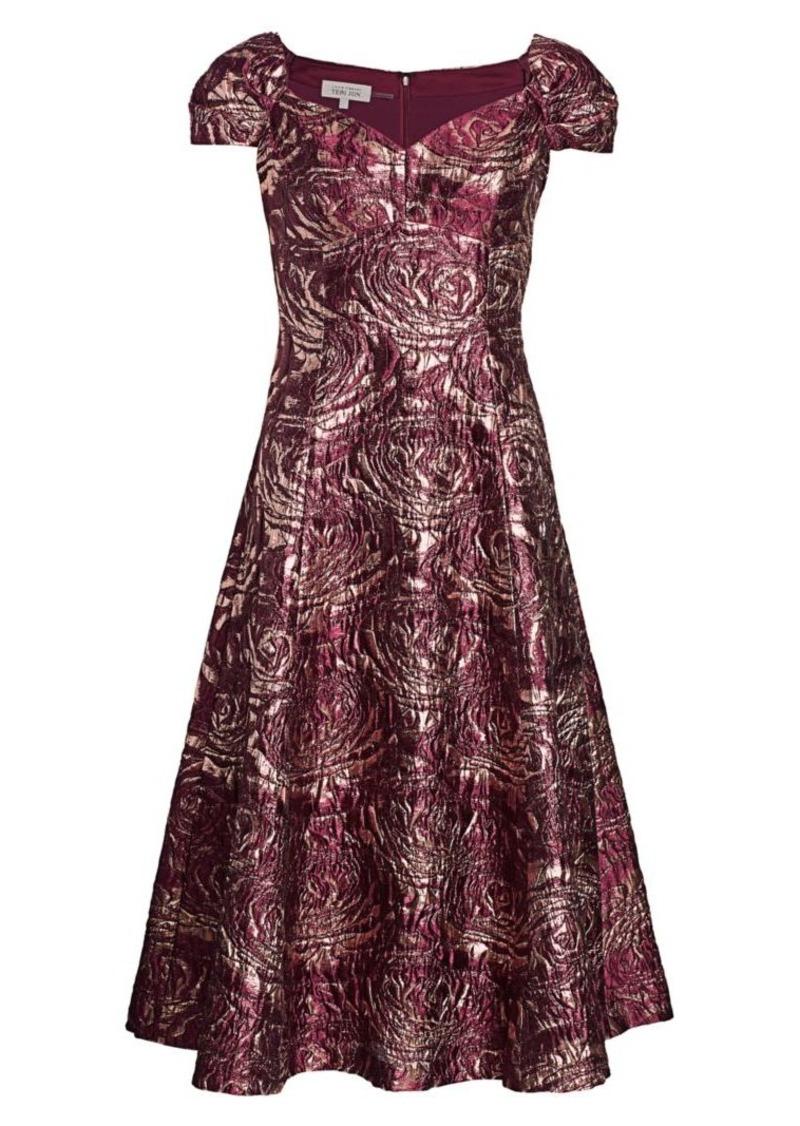 Teri Jon Brocade Fit & Flare Dress
