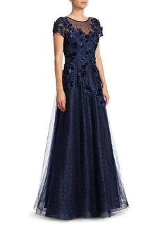 Teri Jon Cap-Sleeve Appliqué Tulle A-Line Gown