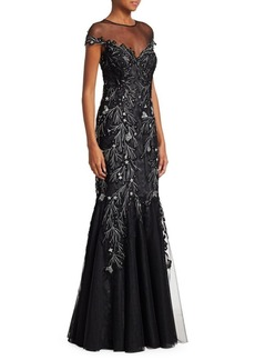 Teri Jon Cap Sleeve Illusion Sequin & Appliqué Tulle Mermaid Gown