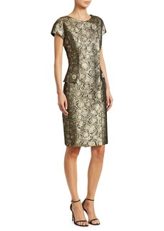Teri Jon Cap Sleeve Metallic Jacquard Midi Dress