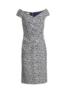 Teri Jon Cap-Sleeve Shimmer Cocktail Dress
