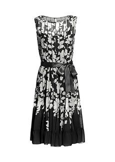 Teri Jon Chiffon Floral Pleated Dress