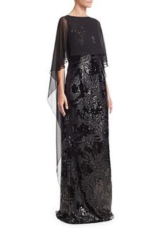 Teri Jon Chiffon Overlay Sequined Gown