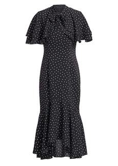 Teri Jon Chiffon Polka Dot Capelet Dress