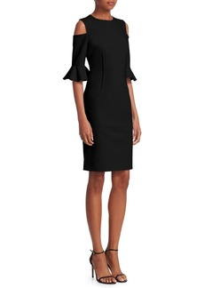 Teri Jon Cold-Shoulder Bell-Sleeve Dress