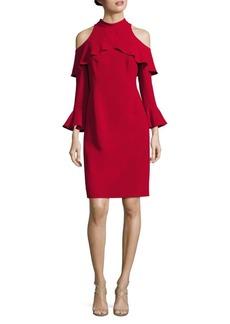 Teri Jon Cold-Shoulder Bell-Sleeve Mockneck Dress