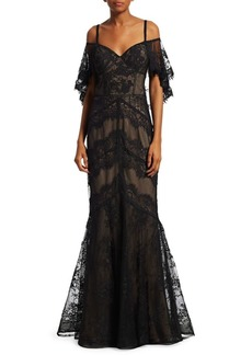 Teri Jon Cold Shoulder Lace Mermaid Dress