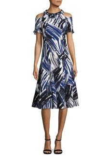 Teri Jon Cold-Shoulder Printed Dress