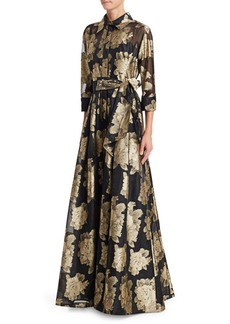 Teri Jon Collared Floral Belted Gown