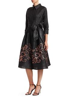 Teri Jon Collared Floral Cocktail Dress