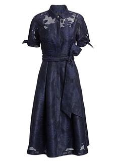 Teri Jon Collared Organza Burnout Jacquard Cocktail Dress