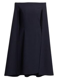 Teri Jon Crepe Off-The-Shoulder Cape Dress