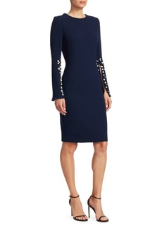 Teri Jon Crepe Split-Sleeve Pearl-Trim Wool Sheath Dress