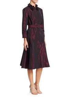 Teri Jon Embellished Collar Taffeta A-Line Shirt Dress