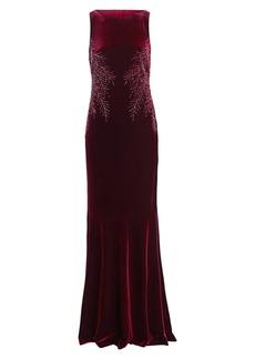Teri Jon Embellished Cowl-Back Velvet Dress