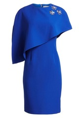 Teri Jon Embellished Crepe Asymmetric Dress