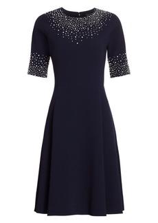 Teri Jon Embellished Fit-&-Flare Cocktail Dress