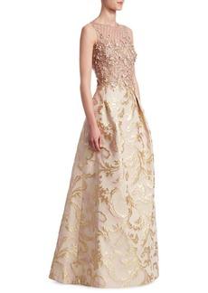 Teri Jon Embellished Floral Gown