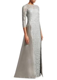 Teri Jon Embellished Floral Lace & Gazar Gown