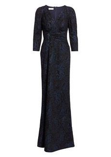 Teri Jon Embellished Jacquard Puff-Sleeve Gown