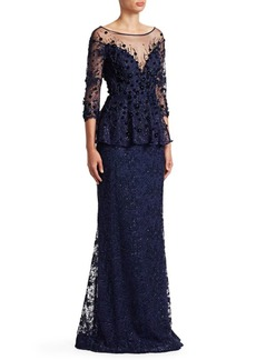 Teri Jon Embellished Lace Gown